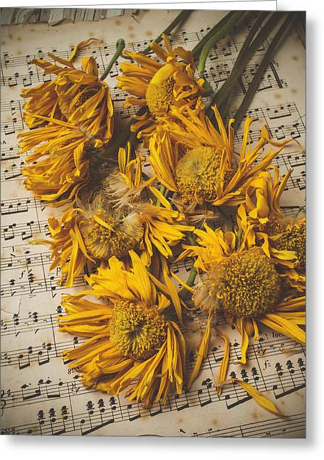 Musical Sunflowers Greeting Card by Garry Gay