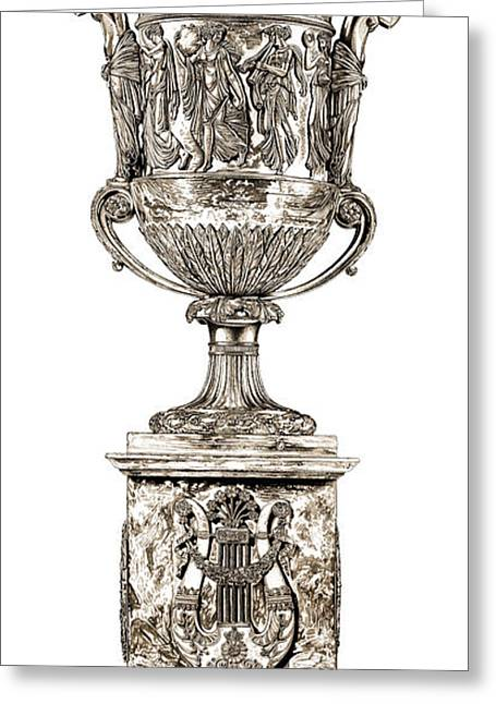 Roman Sculptures Greeting Cards - Musical Urn _ V2 Greeting Card by Bruce Algra
