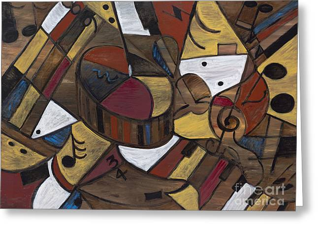 Musicality In Brown Greeting Card by Nadine Rippelmeyer