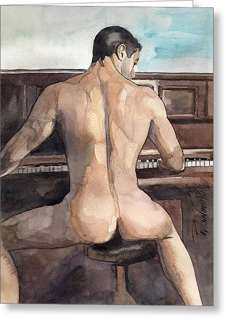 Sexy Man Greeting Cards - Musician Greeting Card by Yuliya Podlinnova