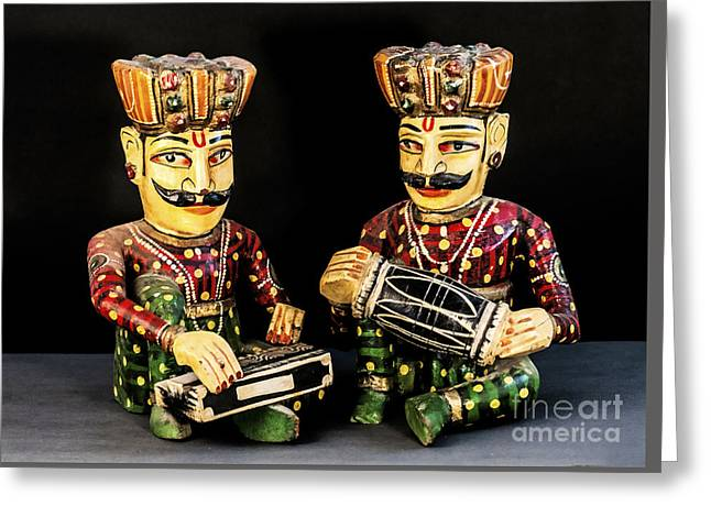 Wooden Sculpture Greeting Cards - Musicians Greeting Card by Charuhas Images