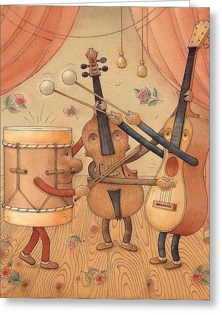 Music Drawings Greeting Cards - Musicians Greeting Card by Kestutis Kasparavicius