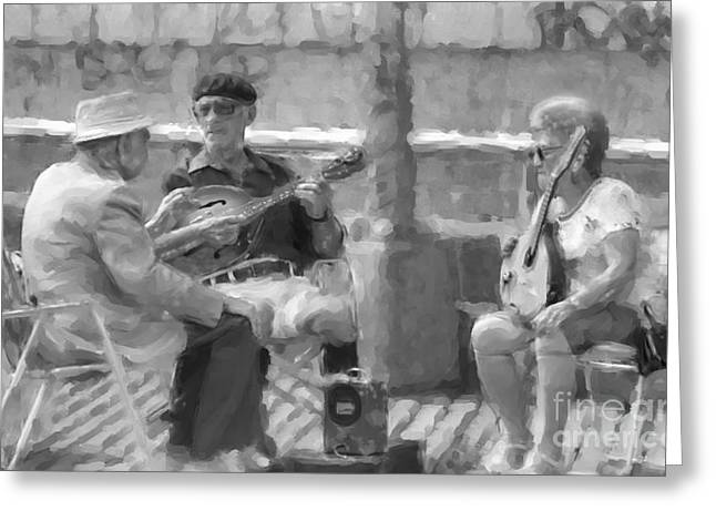 Playing Musical Instruments Greeting Cards - Musicians On The Boardwalk Greeting Card by Jeff Breiman