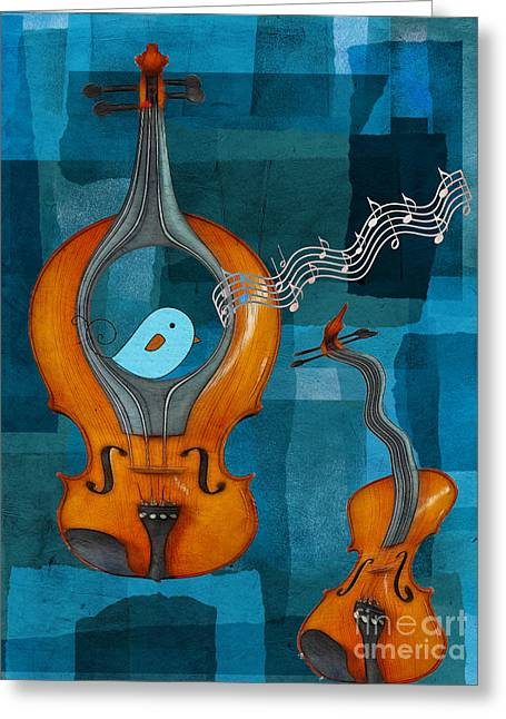Turquoise Violin Greeting Cards - Musiko Greeting Card by Aimelle