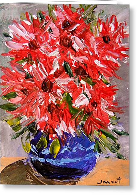 Aster Drawings Greeting Cards - Musing-Asters Red White Pink Greeting Card by John  Williams