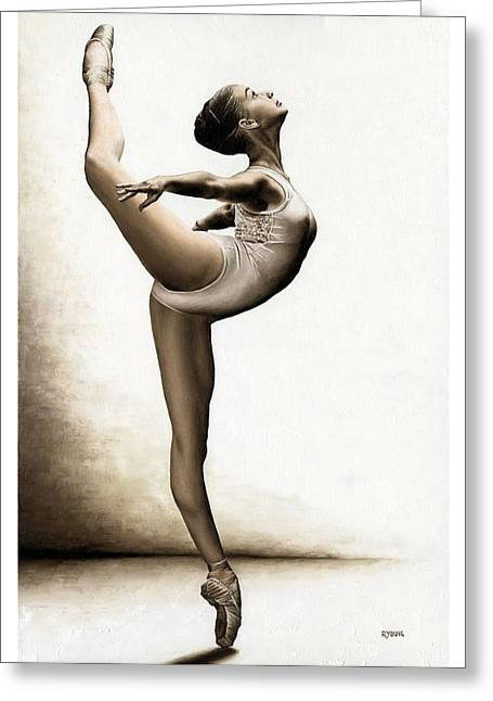 Modern Dance Greeting Cards - Musing Dancer Greeting Card by Richard Young