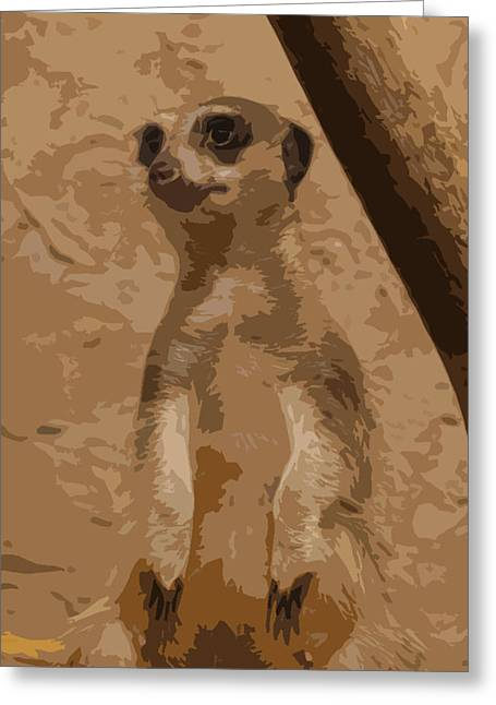 Musing Meerkat Greeting Card by Virginia Artist
