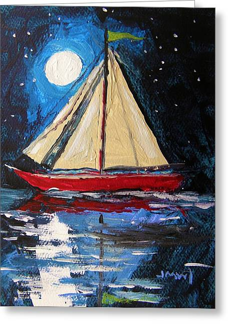 John M. Williams Drawings Greeting Cards - Musing-Midnight Sail Greeting Card by John  Williams
