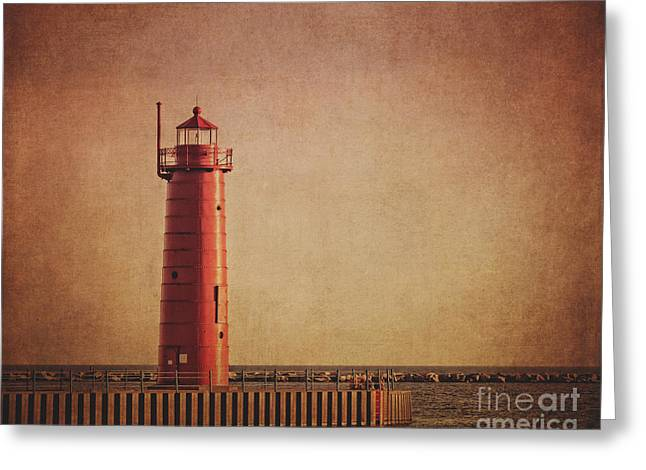 Lake House Greeting Cards - Muskegon Lighthouse at Dusk Greeting Card by Emily Kay