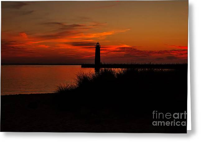 Lake House Greeting Cards - Muskegon Sunset Greeting Card by Emily Kay