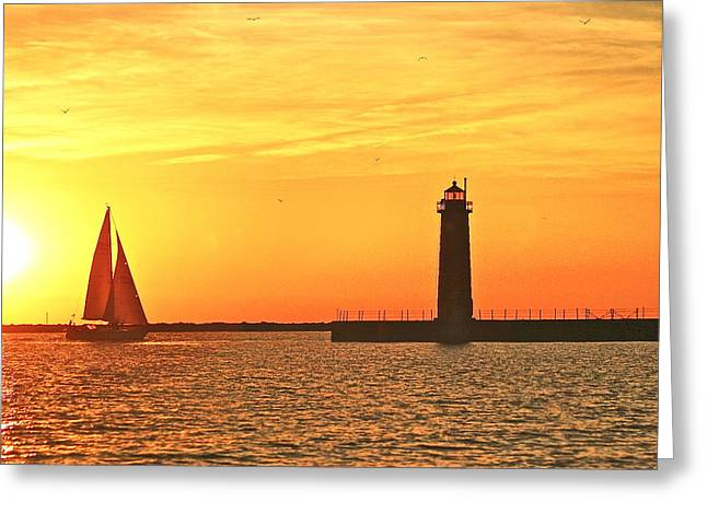 Lighthouse Photography Greeting Cards - Muskegon Sunset Greeting Card by Michael Peychich
