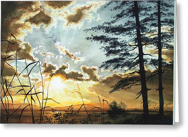 Canadian Art Greeting Cards - Muskoka Dawn Greeting Card by Hanne Lore Koehler