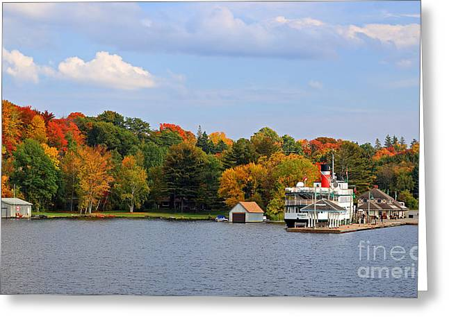 Steamboat Greeting Cards - Muskoka Lake Cruise Ship Greeting Card by Charline Xia