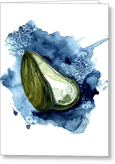 Restaurant Greeting Cards - Mussel Shell Greeting Card by Paul Gaj