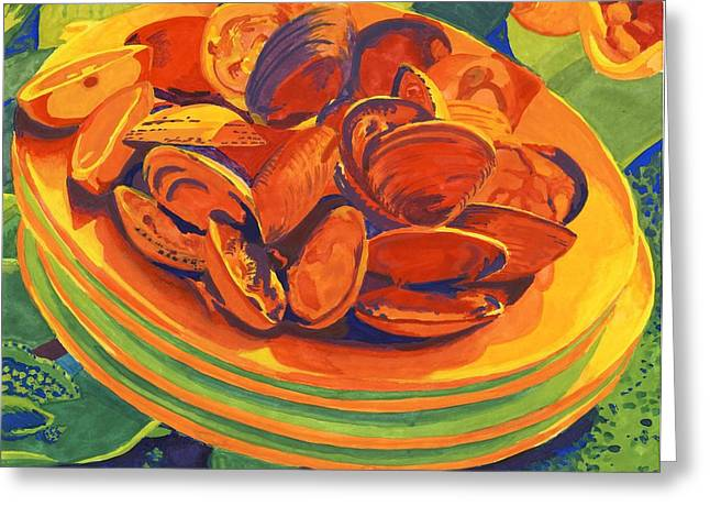 Moules Greeting Cards - Mussels Greeting Card by Carol Ann