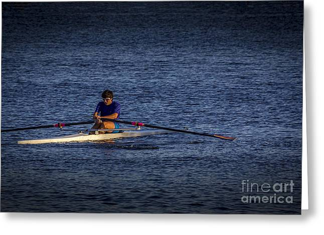 Sculling Greeting Cards - Must Get Faster Greeting Card by Marvin Spates