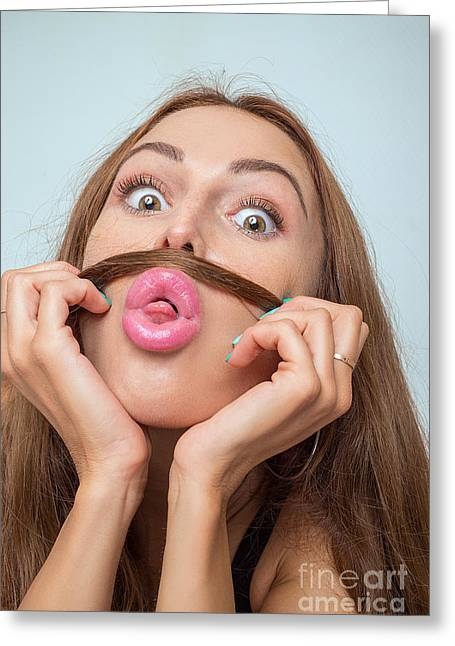 Mustache Greeting Cards - Mustache And Tongue Greeting Card by Aleksey Tugolukov