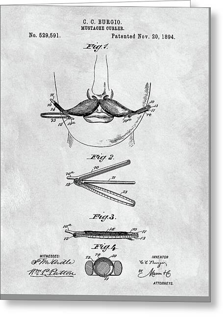 Mustache Curler Patent Greeting Card by Dan Sproul