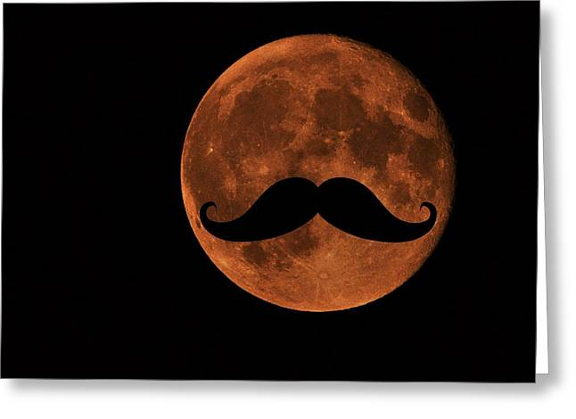 Luna Greeting Cards - Mustache Moon Greeting Card by Marianna Mills