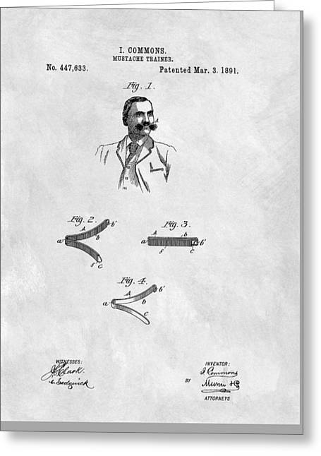 Mustache Trainer Patent Greeting Card by Dan Sproul