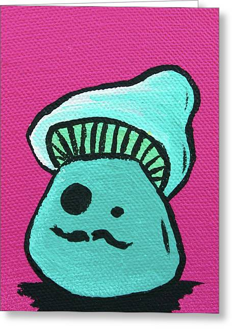 Mustache Mixed Media Greeting Cards - Mustache Zombie Mushroom Greeting Card by Jera Sky