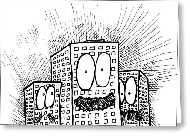 Mustachio Buildings Greeting Card by Karl Addison