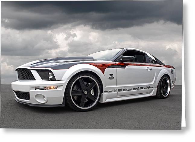 Slammer Greeting Cards - Mustang GT With Flame Graphics Greeting Card by Gill Billington