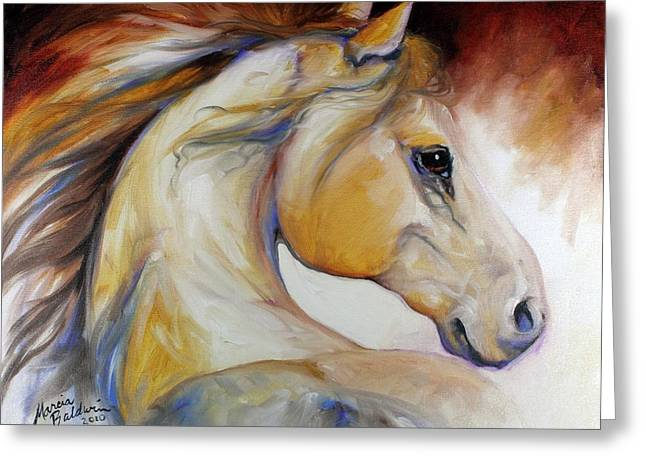 Wild Horses Greeting Cards - Mustang Named Wind Greeting Card by Marcia Baldwin