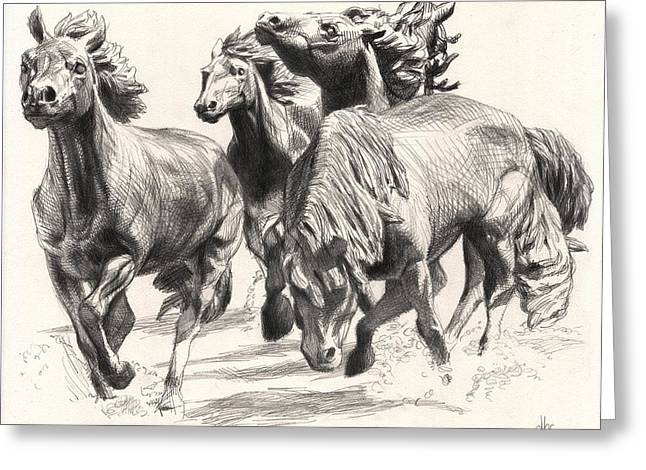 Cowboy Pencil Drawings Greeting Cards - Mustangs of Las Colinas Greeting Card by David Clemons