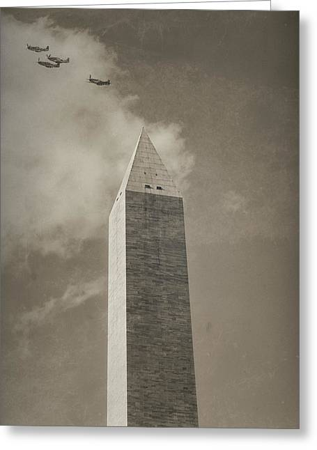 Military Airplanes Greeting Cards - Mustangs Over the Monument Greeting Card by Larry Helms