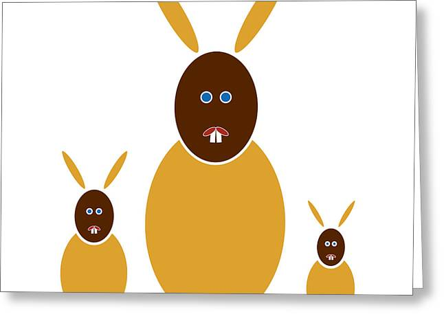 Baby Animal Drawings Greeting Cards - Mustard Bunnies Greeting Card by Frank Tschakert