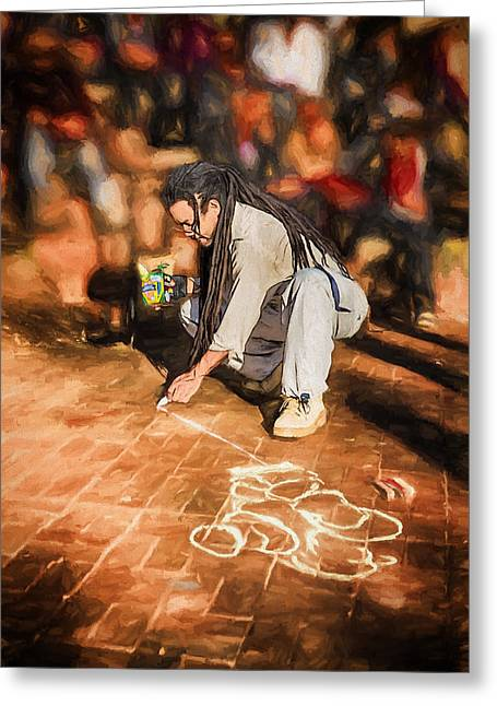 Mutant Ninja Chalk Drawing Greeting Card by John Haldane