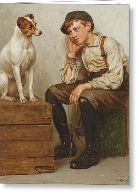 Doggies Greeting Cards - Mutual Admiration Greeting Card by John George Brown