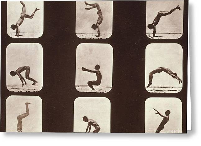 High Speed Photography Greeting Cards - Muybridge Locomotion Back Hand Spring Greeting Card by Photo Researchers