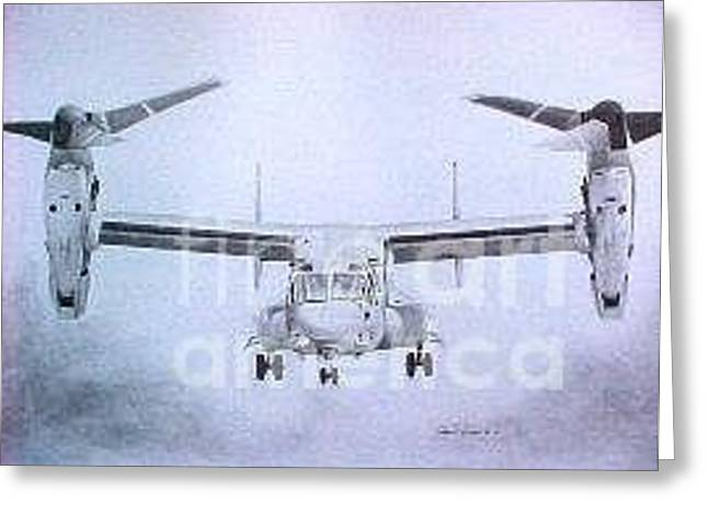 Support Drawings Greeting Cards - MV-22 Osprey Greeting Card by Stephen Roberson
