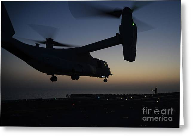 Mv Greeting Cards - MV-22B Osprey tiltrotor aircraft launching Greeting Card by Celestial Images