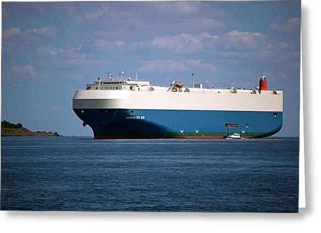 Carrier Greeting Cards - MV Marvelous Ace inbound Port of Baltimore Greeting Card by Wayne Higgs