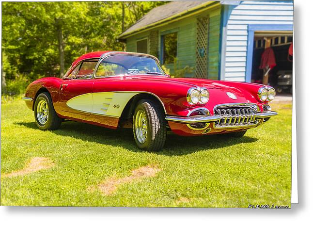 1960 Greeting Cards - My 1960 Corvette Greeting Card by Ken Morris