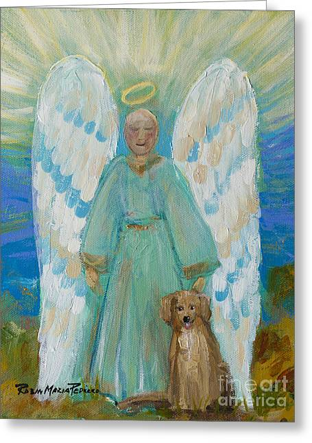Angel Blues Greeting Cards - My Angels Greeting Card by Robin Maria  Pedrero