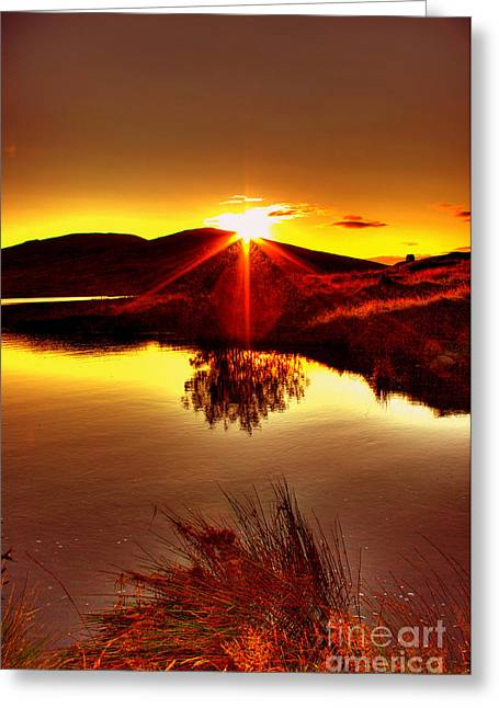 Reflection In Water Mixed Media Greeting Cards - My Anniversary Sunset Greeting Card by Kim Shatwell-Irishphotographer