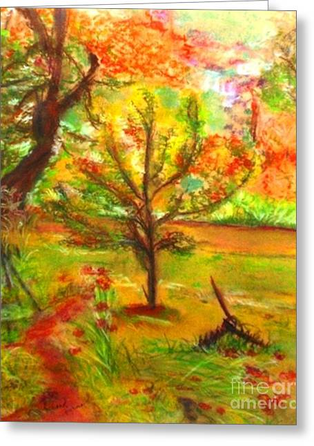 Apple Pastels Greeting Cards - My Art Teachers Crab Apple Tree Greeting Card by Helena Bebirian