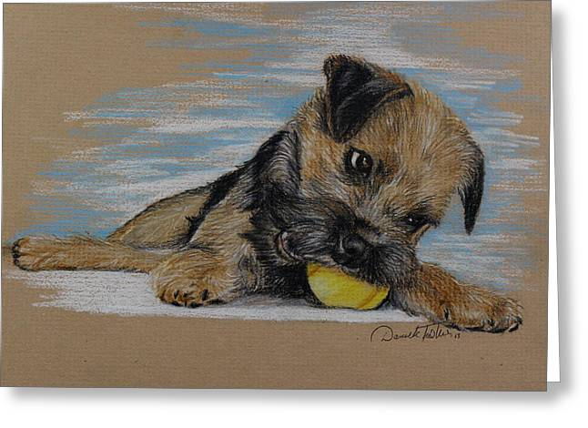 Painted Puppies Drawings Greeting Cards - My ball Greeting Card by Daniele Trottier