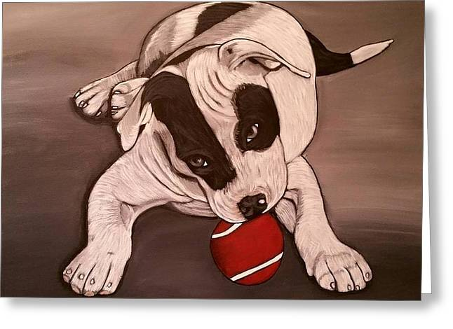 Puppies Paintings Greeting Cards - My Ball Greeting Card by Tammy Rekito