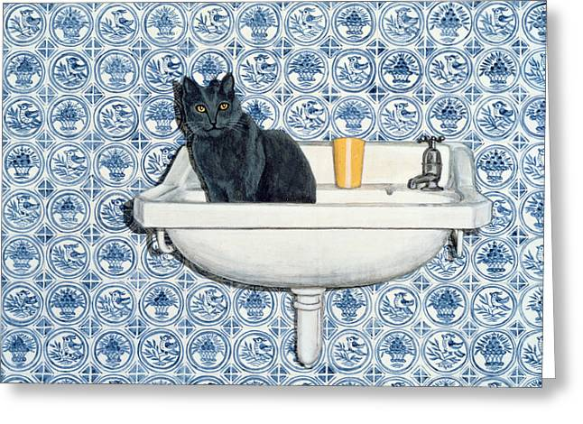 My Bathroom Cat  Greeting Card by Ditz