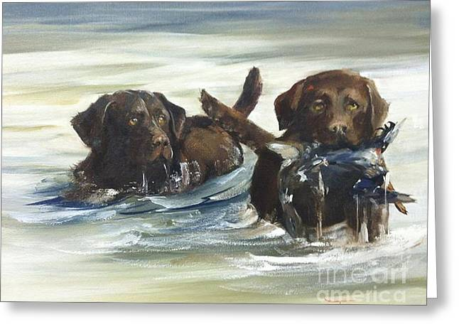 Chocolate Lab Greeting Cards - My Besties Greeting Card by Tony Forrest