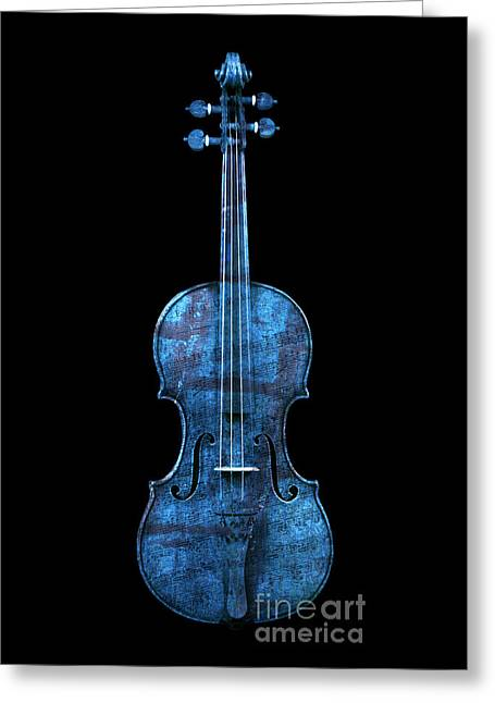 Overture Greeting Cards - My Blue Violin Greeting Card by John Stephens