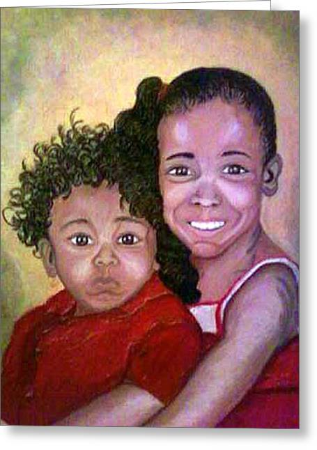 Keenya Woods Mixed Media Greeting Cards - My Brothers Keeper  Greeting Card by Keenya  Woods