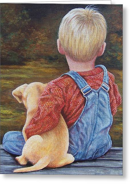 Puppies Paintings Greeting Cards - My Buddy Greeting Card by Glenda Stevens