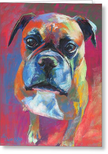 Boxer Pastels Greeting Cards - My Buddy the Boxer Greeting Card by Sandy  Lindblad