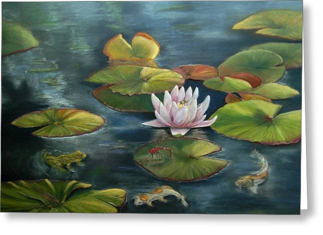 Water Lilly Pastels Greeting Cards - My Busy Lilly Pond Greeting Card by Ceci Watson